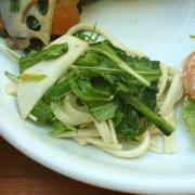 有機小松菜と有機水菜の手延べうどんのつるつる和え