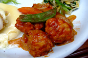 富士山ゆうゆう鶏の鶏団子と有機チンゲン菜のケチャップ炒め
