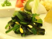 有機小松菜と有機豆もやしの辛子醤油和え