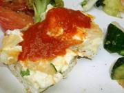 旬の有機野菜入りスパニッシュオムレツ トマトソース添え