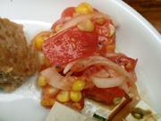 新鮮有機トマトと有機とうもろこしのバジルマリネ