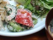 有機トマトと有機ゴーヤのおかかマヨネーズ和え