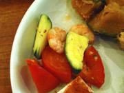北海タコと有機水菜のバジルマリネ