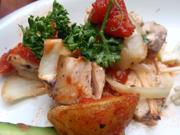 メカジキと有機ジャガ芋のオーブン焼き トマトソース
