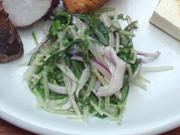 有機水菜と有機赤玉ネギのマヨネーズ和え
