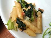 ズワイガニと有機菜の花のペペロンチーノ