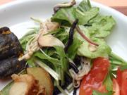 いろいろ焼ききのこと有機リーフのサラダ