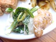 有機大根と有機小松菜と有機ジャガ芋のバジルマヨネーズ和え