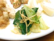 有機寒キャベツと有機青菜と豆もやしの辛子醤油和え
