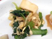 有機青菜と豆もやしの辛子醤油和え