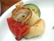 姫ホタテと有機トマトと有機ズッキーニのガーリックハーブ焼き