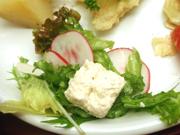 パリパリの有機大根のと有機リーフレタスのサラダ