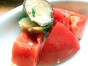 有機揚げズッキーニと有機茄子と有機トマトのハーブマリネ