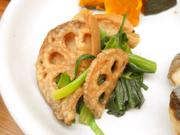 揚げ有機蓮根と車麩と有機青菜のナムル