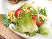 有機新玉ネギと有機水菜と油揚げのサラダ
