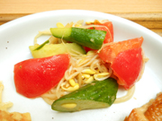有機トマトと有機キュウリの中華和え