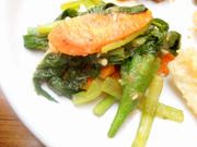 有機いんげんと有機小松菜と有機きのこのおろし和え
