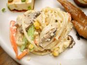 スパゲッティとコーンと有機玉ネギの粒マスタード和え