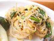 有機豆もやしと有機青菜の辛子醤油和え