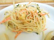 スパゲティとコーンのマヨネーズ和え
