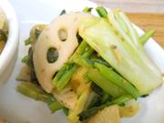 有機蓮根と有機青菜の胡麻和え