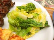 有機菜の花と有機キャベツのハーブマリネ
