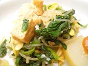 厚揚げと有機青菜と豆もやしのナムル