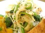 有機青菜と豆もやしと有機おくらの土佐和え