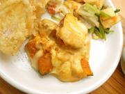 オーガニックチキンと有機南瓜の有機さつま芋のカレーチーズ焼き