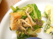 有機小松菜といろいろきのこと厚揚げの七味おろし和え