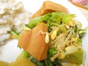 有機チンゲン菜と車麩の辛子醤油和え