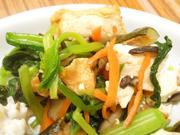 厚揚げと有機青菜と辛子醤油和え