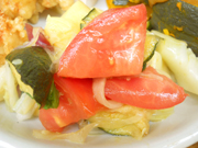 揚げズッキーニと有機トマトのバルサミコマリネ