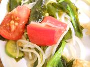 さらし玉ネギと有機トマトとわかめの中華和え