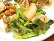 有機青菜と有機茹で大根のワサビ醤油和え