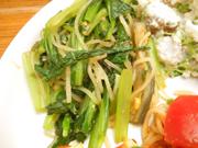 有機揚げ茄子と有機小松菜の薬膳ソース和え