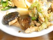 蒸し鶏と有機茄子の辛みそ炒め