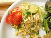 有機揚げ茄子と有機青菜のおひたし