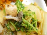 有機長芋と有機青菜のわさび醤油和え