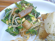 菜の花とチンゲン菜のからし醤油和